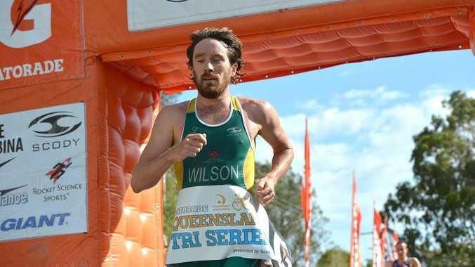 Caloundra Triathlon Mens' winner Dan Wilson. Photo:Warren Lynam / Sunshine Coast Daily