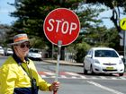 Work started on Marine parade in Kingscliff. Chris Wood holds traffic.