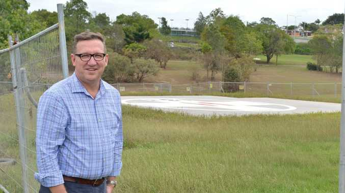Gympie MP David Gibson pictured yesterday at what will soon be the city's new emergency helipad.
