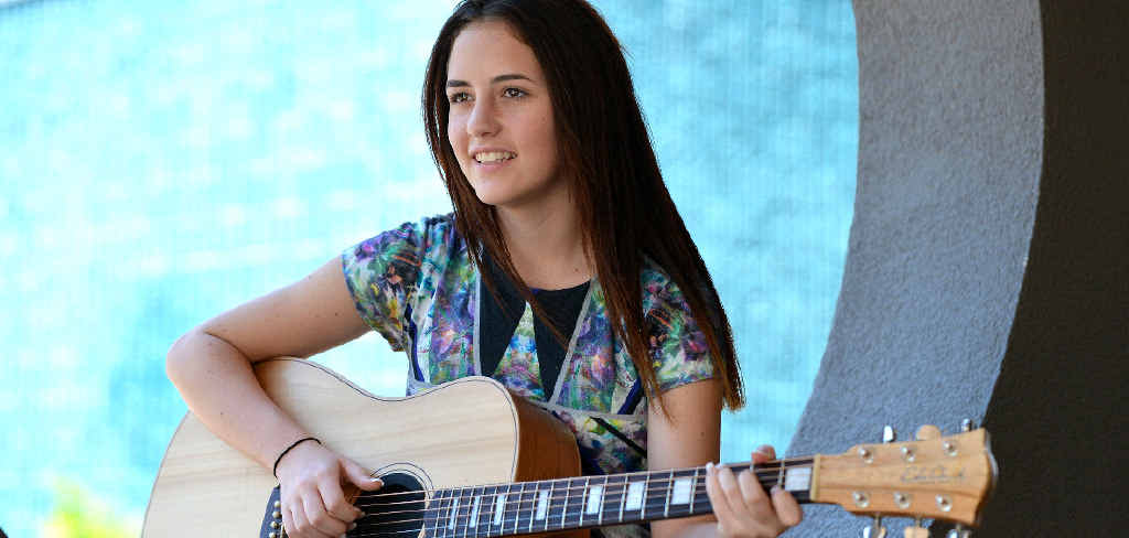 Tia Gostelow, 13, has just returned from making her debut at the Tamworth Country Music Festival where she won the Toyota LandCruiser Busking Championships People's Choice Award.