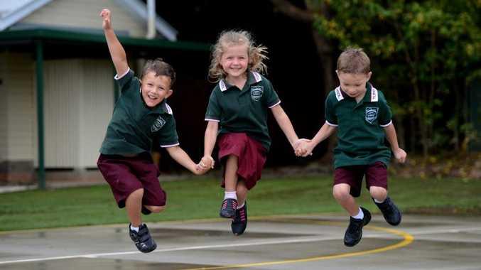 Tumbulgum public school. First day back. Sid Longhurst, Chloe-May Kabealo, Lachlan May.