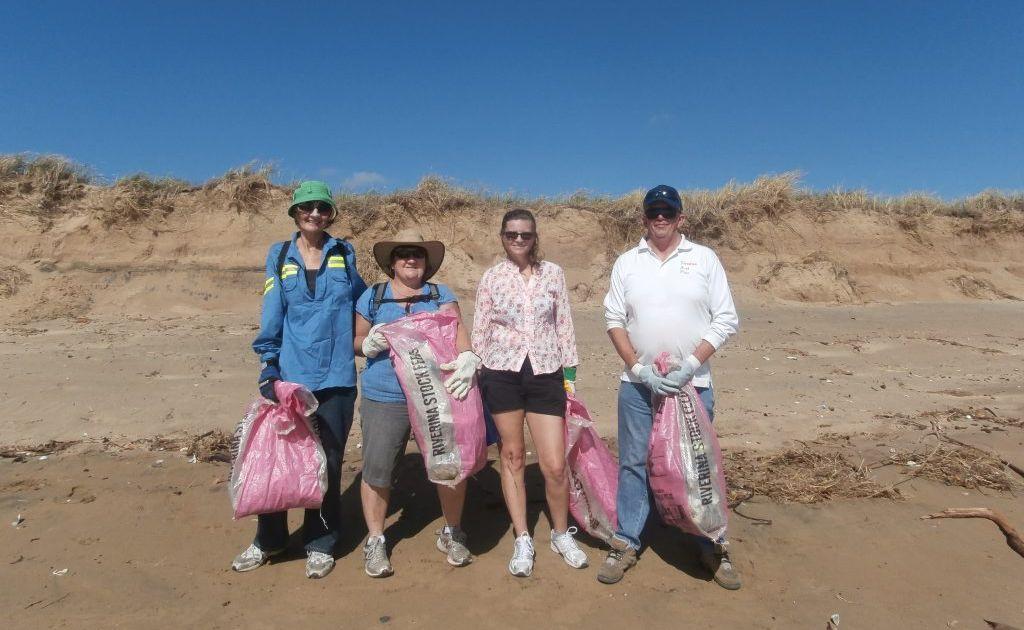 (From left) Trish Zettl, Linda Werry, Karen Smith and Cary Scotton all volunteered to help clean up Whyndham Beach, Boyne Island.