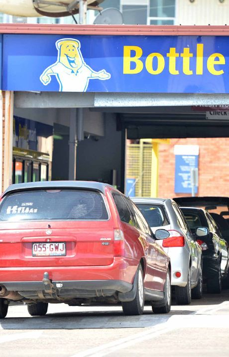 The queue at the Freemasons Hotel bottle shop yesterday.