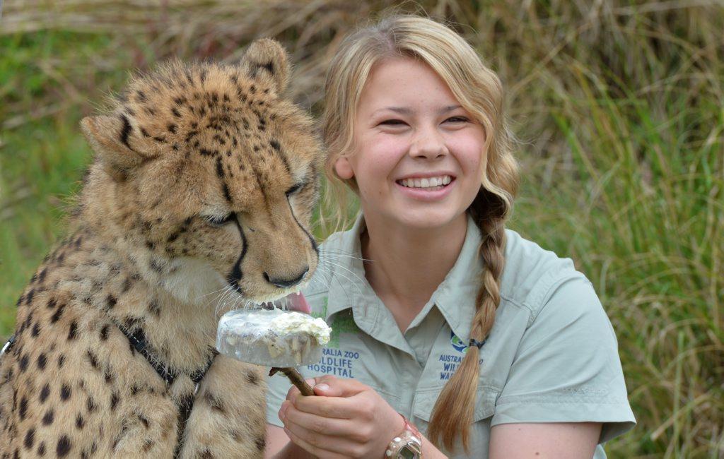 Bindi Irwin with a cheetah at Australia Zoo at Beerwah.