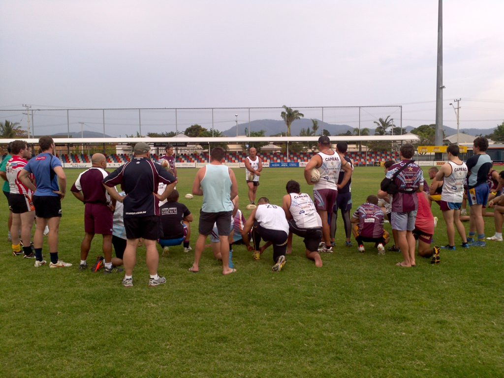 Coach Jason Hetherington chats with the Capras at training. He says his team are educated on the dangers of taking drugs in sport. Photo: Contributed.