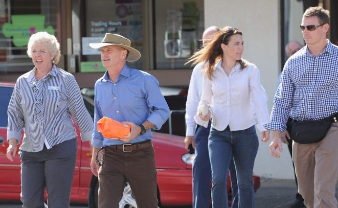 Premier Campbell Newman in Maryborough after the floods with local member Anne Maddern.