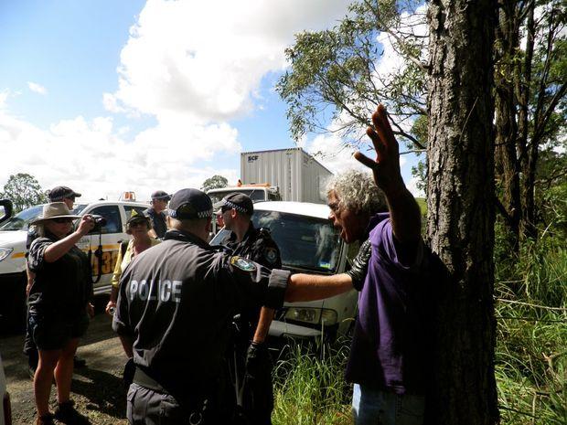 Githabul elder Kamallie Monsell arrested yesterday at the Doubtful Creek blockade.