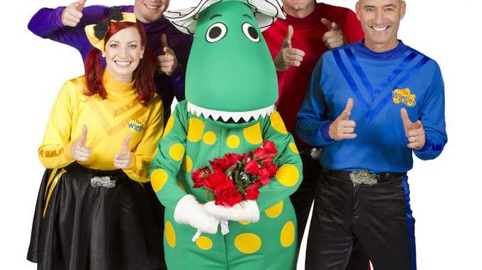 ON THEIR WAY: The new-look Wiggles, Emma, Lachlan, Simon and long-time Wiggle Anthony with Dorothy the Dinosaur.