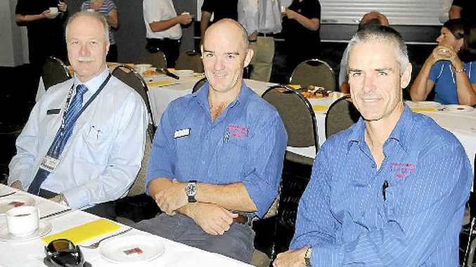 USC's Graham Young, veterinarian Justin Schooth and Brett Hall contributed to flood discussions.