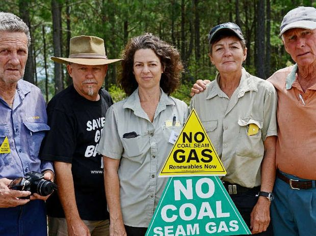 FED UP: RFS volunteers not happy with the RFS catering truck being used to feed police at the Doubtful Creek CSG blockade: Brian Spencer, Mark Palmer, Hayley Katzu, Jennifer Lewis and Don Durrant, from local RFS units.
