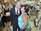 Queensland Premier Campbell Newman meets local shopper Lillian Camilleri at the brand new Coles CBD store. Photo: Rob Williams / The Queensland Times