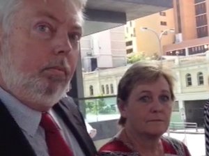 Bruce and Denise Morcombe speak outside court