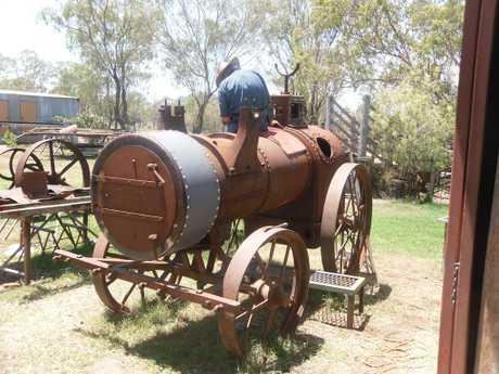 The Robey steam engine prior to restoration.