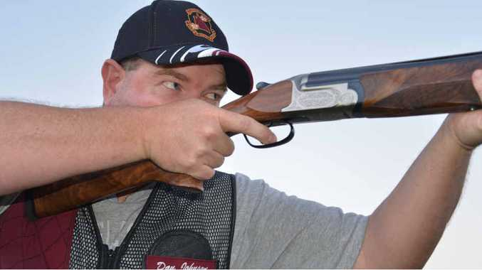 Dan Johnson after a teams win with Queensland in the nationals in clay target shooting.