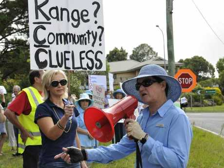 Friends of the Toowoomba Range protest the Eastside Village development.