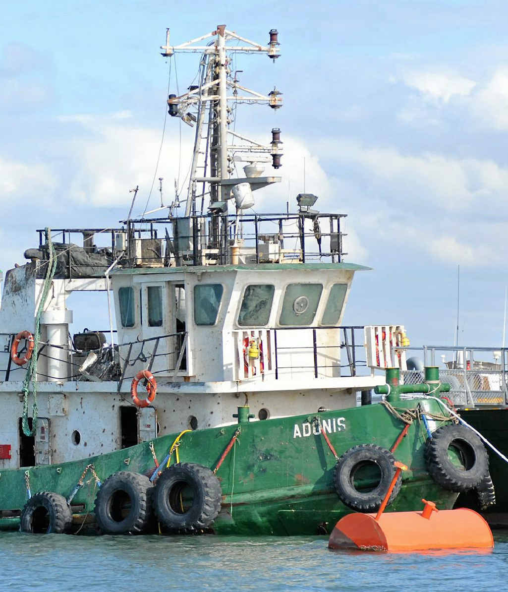 Salvage of the tug boat Adonis, which sank in Gladstone Harbour in 2011.
