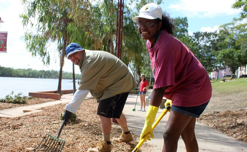 Part of the Girls Grammar School Mud Army team, student Yvette Williams, 17 and director of student well-being James Lye put in some hard work on the Quay St Riverbank.