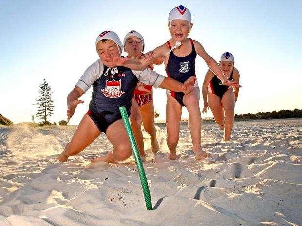 Kids accomplishing :Nippers Zandah Watson, Amadeus Bellenger, Ella Hogben and Claire Rendall at Coolangatta surf club.