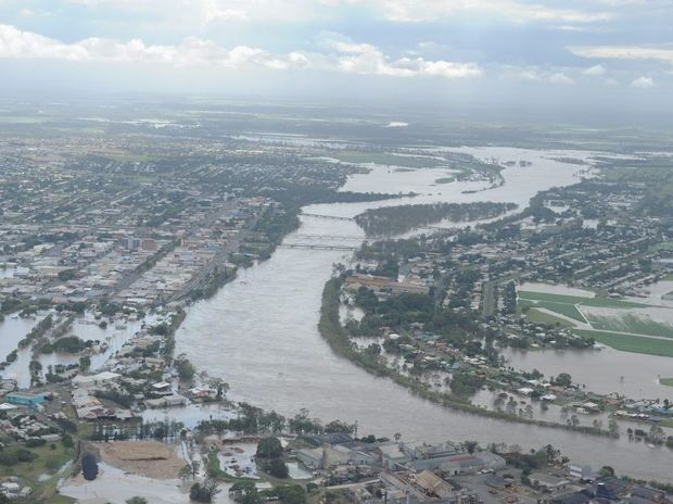 Aerial shot of the Burnett River in flood at Bundaberg.