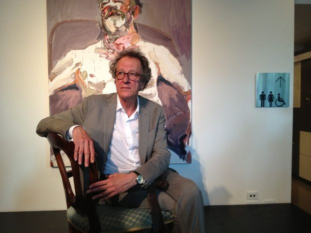 Geoffrey Rush gives a tribute to his mate Bille Brown, both revered Queensland actors who began their careers at Queensland Theatre Company. He bought the painting of his friend from Archibald-prize winner Ben Quilty. It is now on loan to QTC. Photo Rae Wilson / Newsdesk