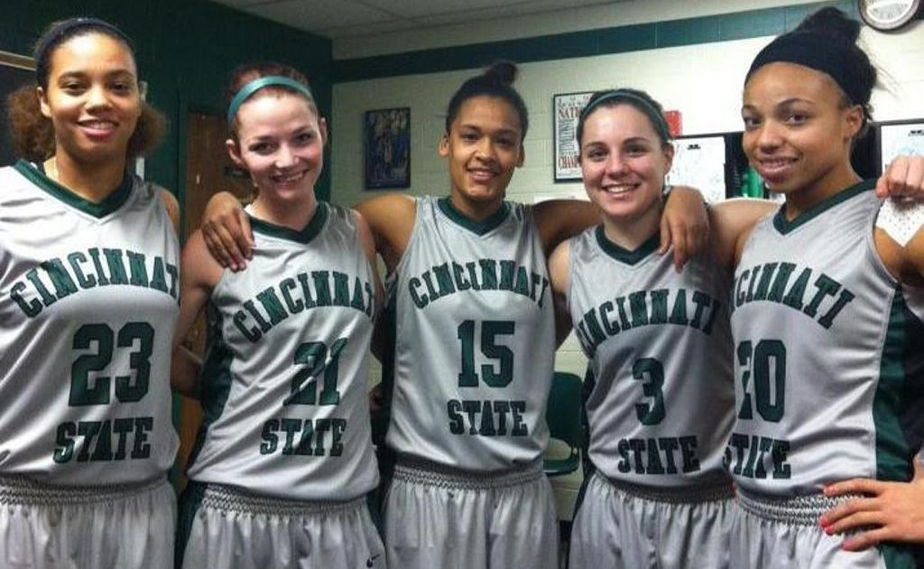 Grace McDougal (second from left) and her new team mates Photo Contributed