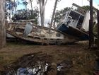 The Maryborough Slipway on the banks of the Mary River looks a disaster scene from a movie following the floods.