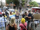 Supporters of 19 CSG protestors who were in Grafton Magistrates court gather this morning. Photo Adam Hourigan / The Daily Examiner