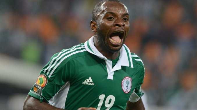 Sunday Mba of Nigeria celebrates his goal during the 2013 Orange African Cup of Nations Final match between Nigeria and Burkina Faso from the National Stadium on Februray 10, 2013 in Johannesburg, South Africa.