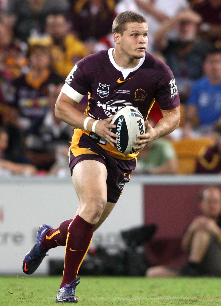 Dale Copley of the Broncos in action during the round five NRL match between the Brisbane Broncos and the St George Illawarra Dragons at Suncorp Stadium on March 30, 2012 in Brisbane, Australia.