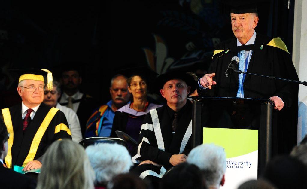 CQ University Graduation, Gladstone Campus. Guest speaker Rex Metcalfe.