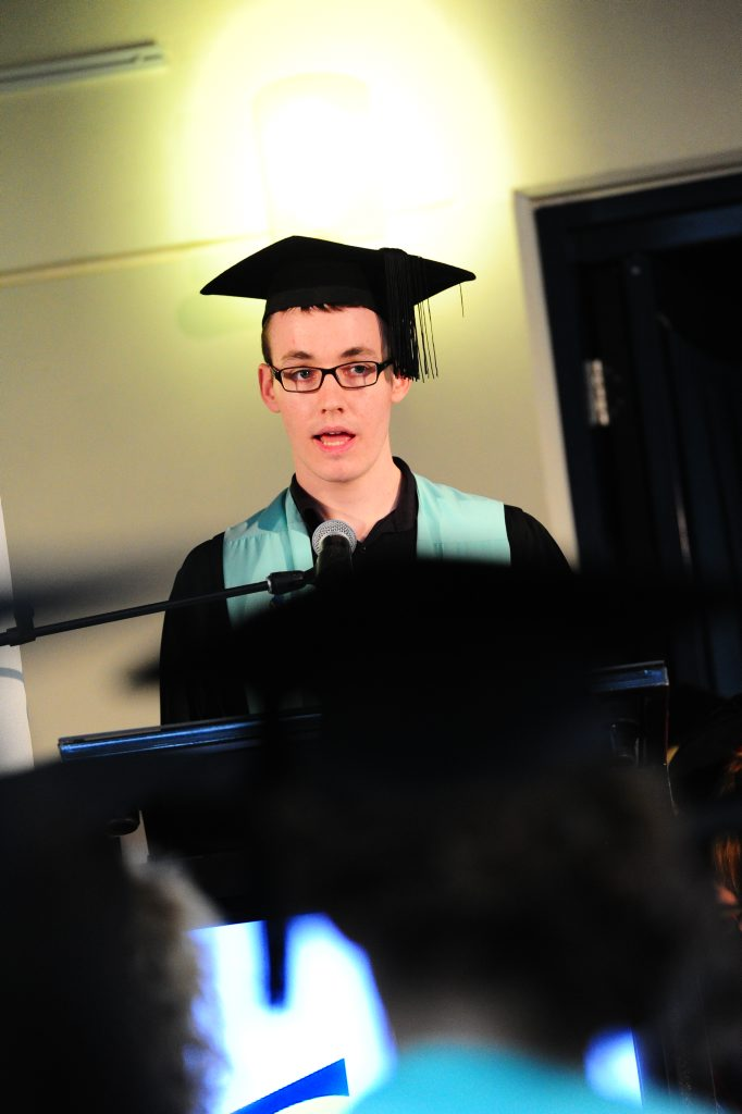 Passionate educator Kyle Stein delivered a an address on behalf of the graduates.