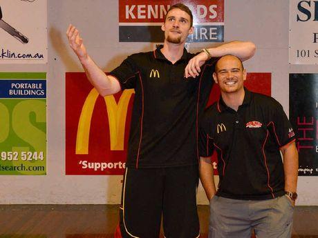 New McDonald's Meteors international recruit Michael Duty gets to know coach Joel Khalu during training in the Mackay heat.