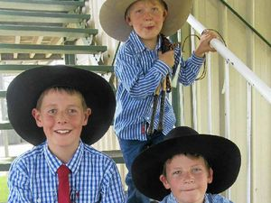 TALENTED FAMILY: Brothers, Eli, Blake and Ethan Kelly, of Gunnedah, hold several Pee Wee Champion whip cracking titles between them.