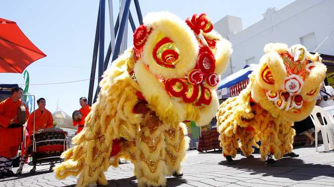 Traditional Chinese lion dance.