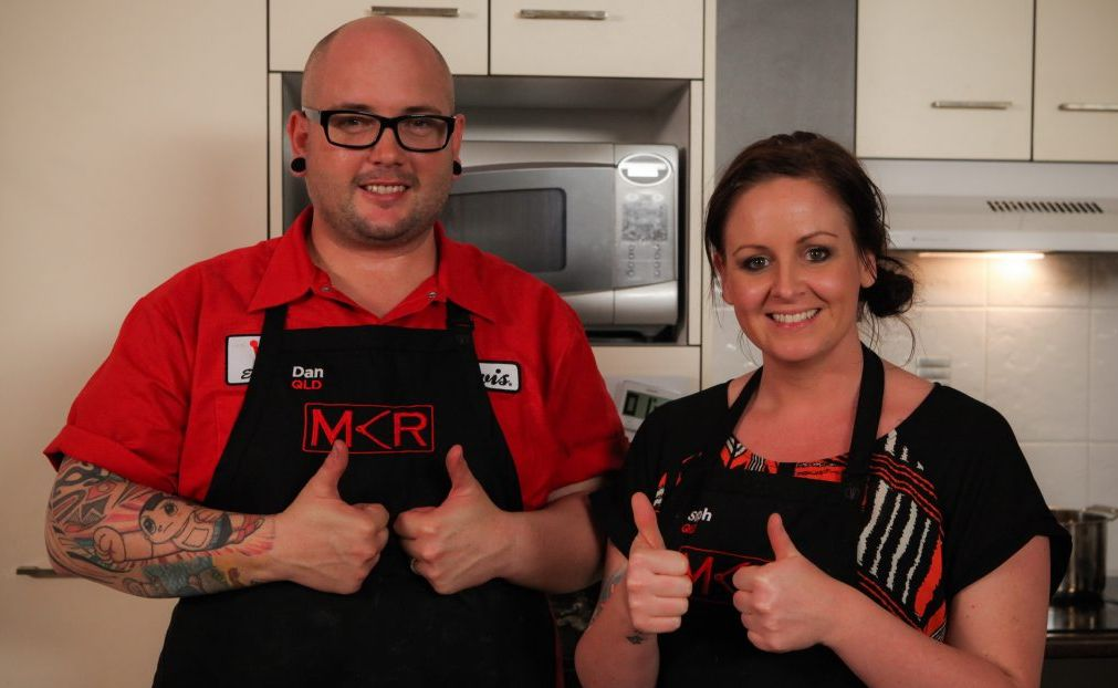 My Kitchen Rules contestants Dan and Steph give the thumbs up.