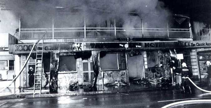 MEMORABLE: Graham Alder was on duty when the Tattersalls Hotel in Mary St burnt down in 1989.