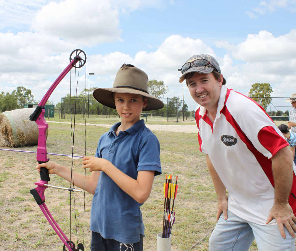 GETTING SOME POINTERS: Michael Geraghty and Dave Brewer at the Emerald Archery Club's open day.