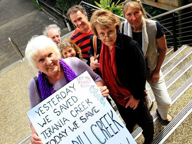 Julie McNamara (sign) and Faye Hill (right front) with other protestors at Council Chambers at Murwillumbah fought the Tweed Council over the Byrrill Creek Dam proposal.
