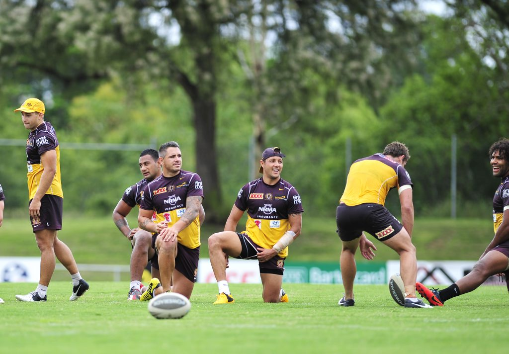 Brisbane Broncos training at North Ipswich Reserve.