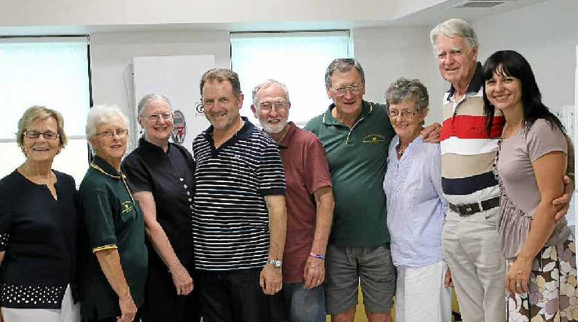 DINNER DONORS: (from left) Margaret Byrne, Heather Noble, Judy Pryce, Jim Pryce, Richard Forbes, Stan Gilchrist, June Gilchrist, Warren Noble and Our House director Rebekka Battista.