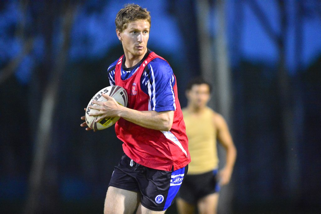 Calliope Roosters Rugby Leauge team train, Bunting Park, Calliope. Blake Lazarus training hard. Photo Tom Huntley / The Observer