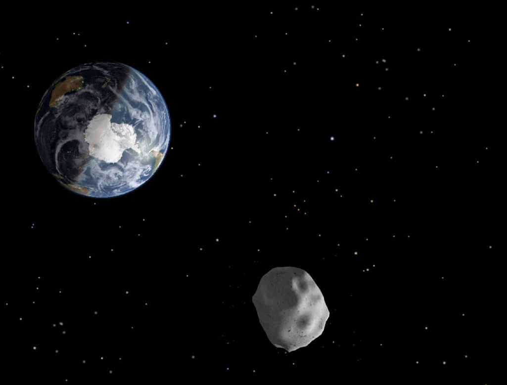 SPACE ROCK: A diagram depicting the passage of asteroid 2012 DA14 through the Earth-moon system.
