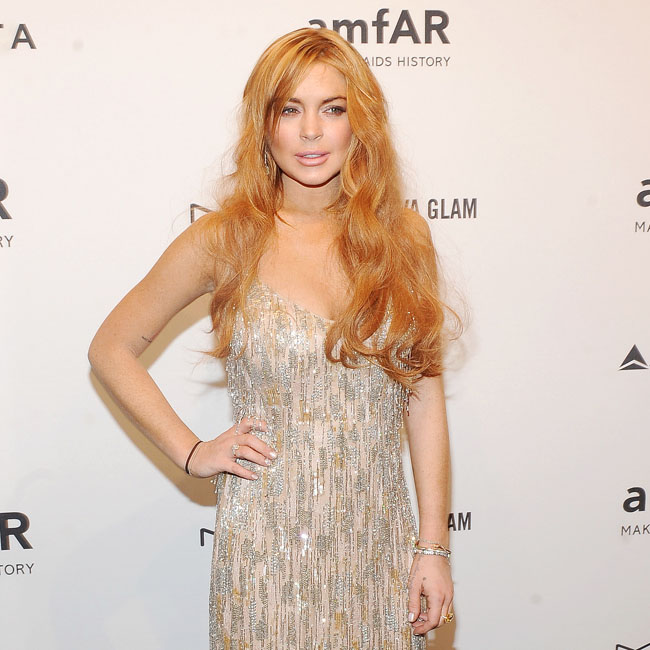 Lindsay Lohan at the amfAR Gala.