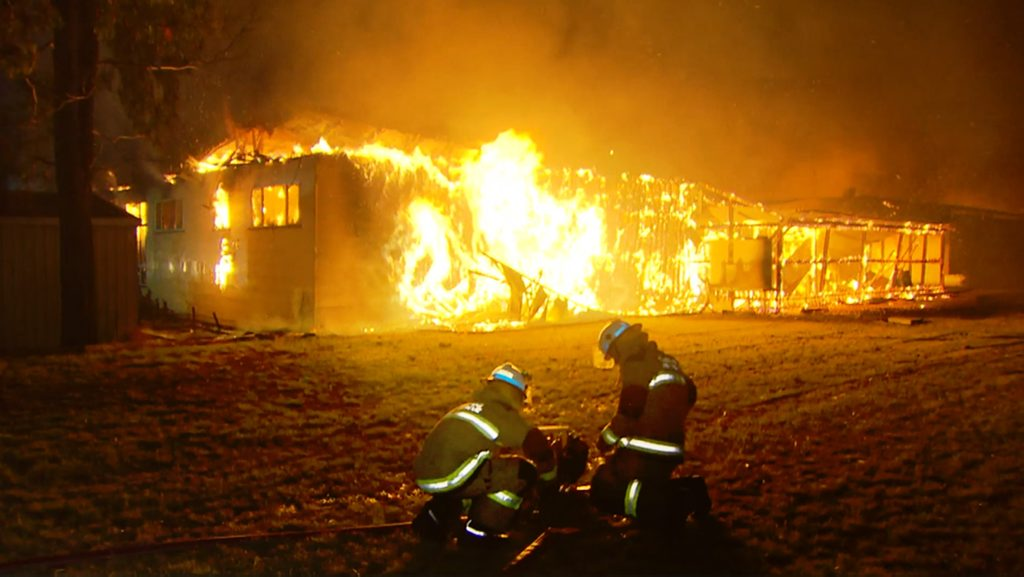 Police have commenced an arson investigation after major fire destroyed the Millmerran Sports Club on Saturday February 16. Photo Contributed Peter Collins, Channel Nine