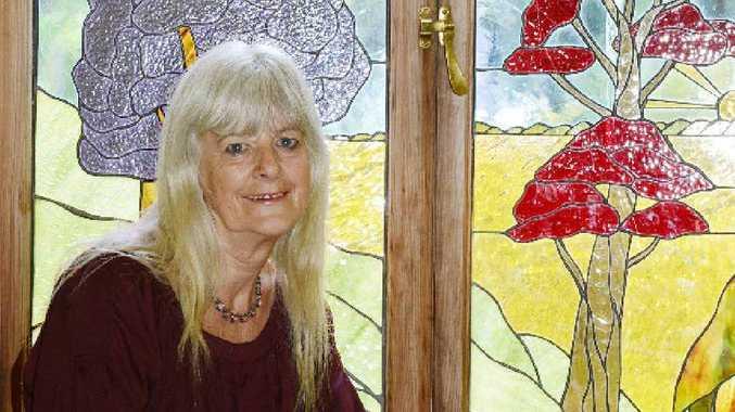 NEW LEAF: Lismore knitting nanna against gas Jennie Dell at home.