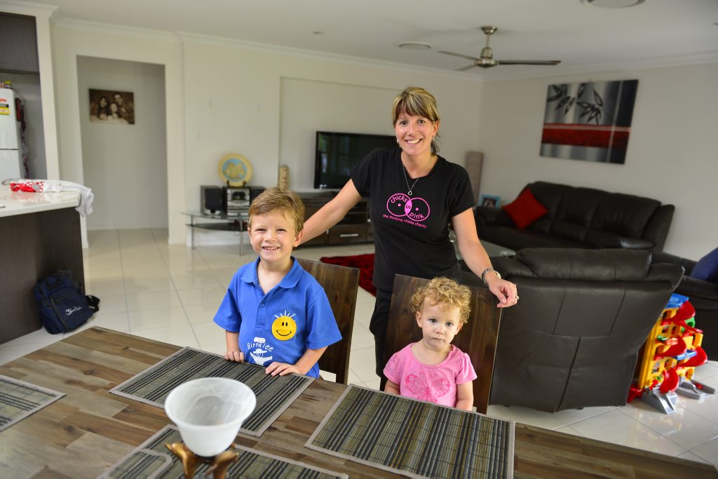 Michelle Troon is happy with her house purchase in Telina. Michelle with Kids Jayden, 4 and Mikayla 20 months.