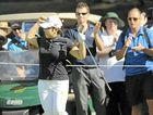 Jiyai Shin of South Korea celebrates after chipping in on the 14th hole during her final round of the Women's Australian Open at the Royal Canberra Golf Club.