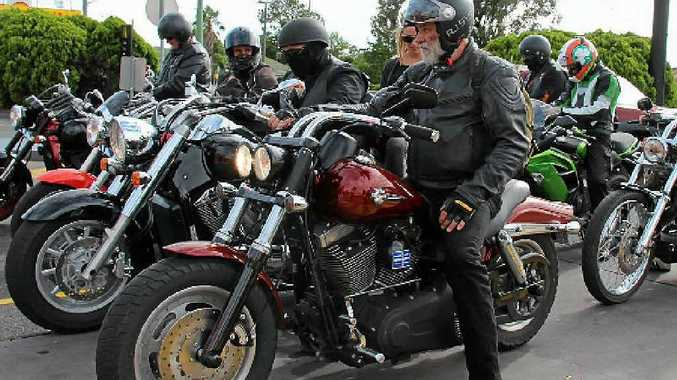 The group of Warwick motorbike enthusiasts mount up for their meat pie tour on Saturday.