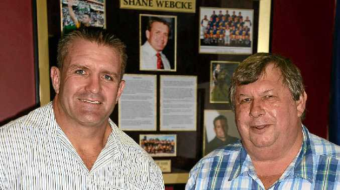 Shane Webcke and Perry Cronin at the Allora Sports Museum in front of Webcke's Hall of Fame tribute.