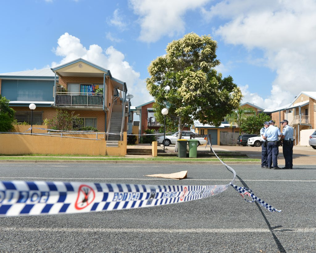 Police guard a crime scene on Boddington Street, East Mackay, where Shandee Blackburn was found murdered  early on February 9.